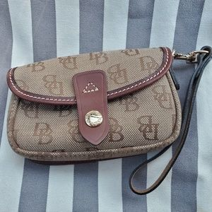 Dooney and Bourke Wristlet - Brown and Tan - Gold